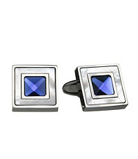Blue Cat's Eye Mother of Pearl Square Cufflinks