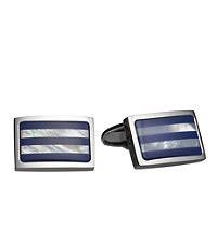 Blue Mother of Pearl Horizontal Stripe Cufflinks