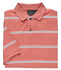 Traveler Striped Short Sleeve Pique Polo- Salmon/Navy Mini Stripe