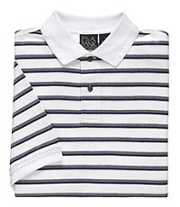 Traveler Striped Short Sleeve Pique Polo- White/Navy Double Stripe
