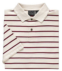 Traveler Striped Short Sleeve Polo- Off White/Red