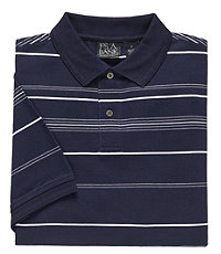 Traveler Striped Short Sleeve Pique Polo- Navy/White