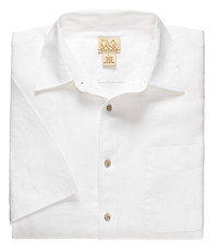 VIP Linen Point Collar Short-Sleeve Solid Sportshirt
