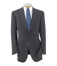Signature Gold 2-Button Wool Suit- Grey Herringbone