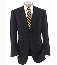 Signature Gold 2-Button Wool Suit- Navy Herringbone