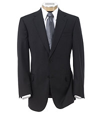 Signature Gold 2-Button Wool Suit With Pleated Front Trousers- Black Herringbone