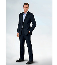 NEW! Joseph Slim Fit 2 Button Plain Front Wool Suit- Grey Microstripe