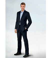 NEW! Joseph Slim Fit 2 Button Plain Front Wool Suit- Black Pindot Stripe