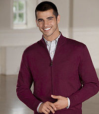 Signature Merino Wool Full Zip Sweater