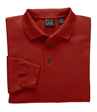 Long-Sleeve Solid Traveler Polos- Big and Tall
