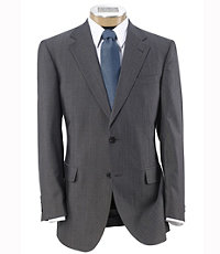 Signature Imperial Wool/Silk Suit with Pleated Trousers - Sizes 44 X-Long-52- Grey/Back Minibone