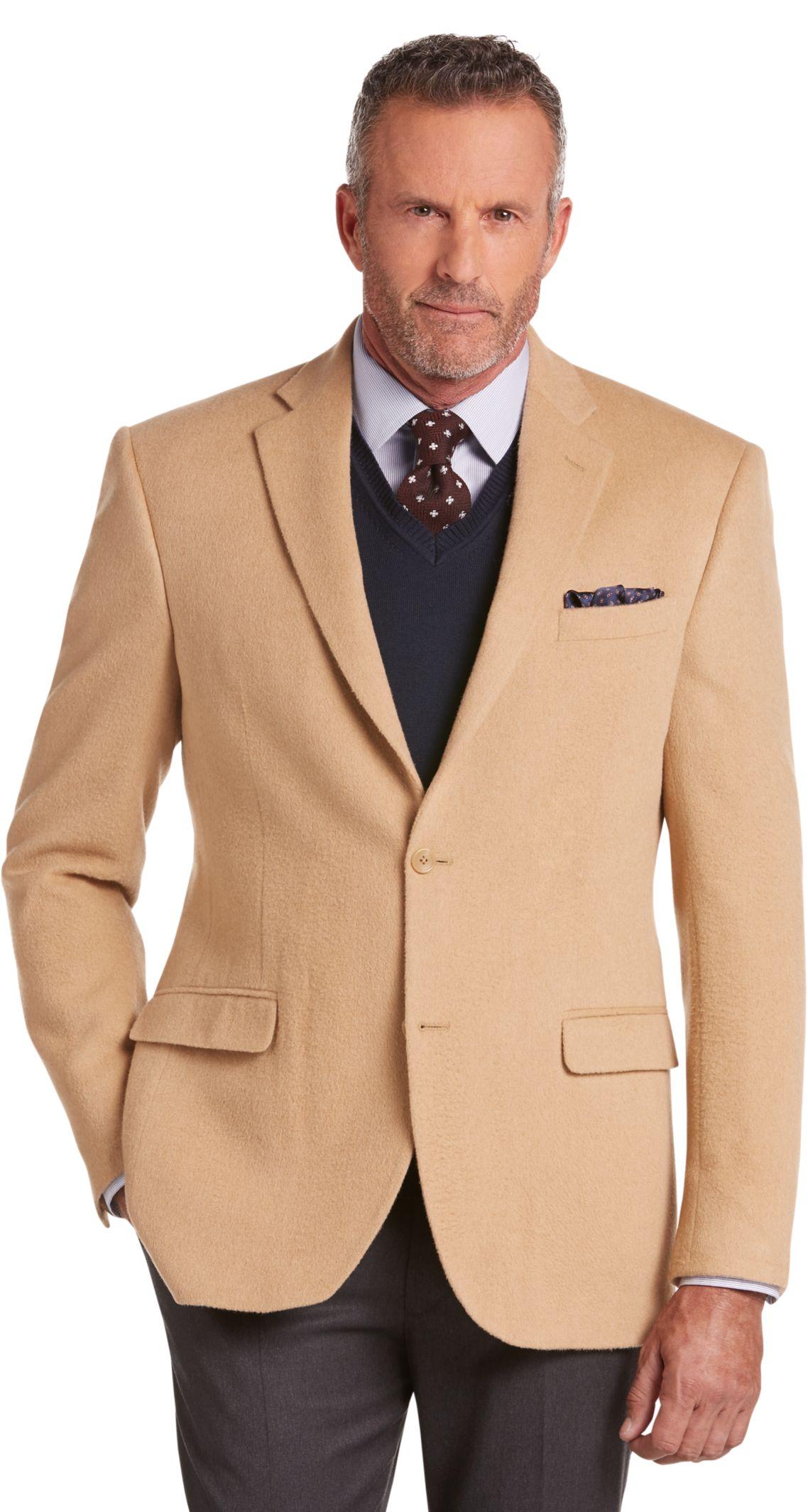 Executive Collection Traditional Fit Camelhair Blazer - Executive ...