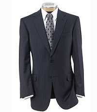 Signature Gold 2-Button Wool Suit- Navy with Black Stripe