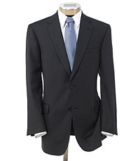 Signature Gold 2-Button Wool Suit- Grey with Blue/White Stripe