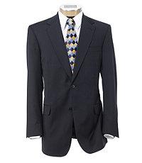 Signature Gold 2-Button Centocinquanta Superfine 150's Wool Suit- Sizes 44 X-Long-52- Navy w Blue Stripe
