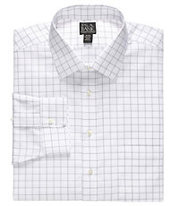 Traveler Spread Collar Poplin Windowpane Dress Shirt  Big and Tall