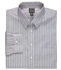 Traveler Point Collar Wrinkle Free Patterned Dress Shirt