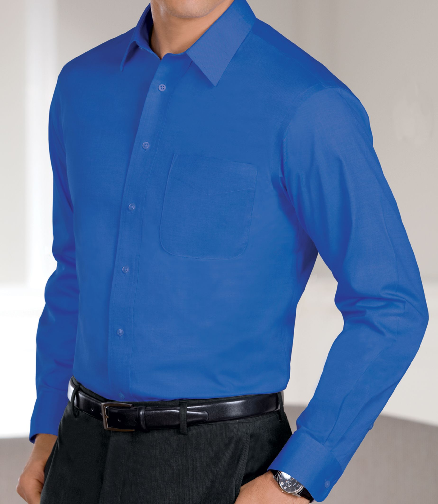 New traveler slim fit wrinkle free pinpoint solid long for Dress shirt collar fit