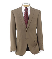 Traveler Tailored Fit 2-Button Suits Plain Front Extended Sizes- British Tan