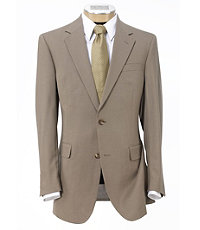 Executive 2-Button Wool Suit with Plain Front Trousers Extended Sizes - British Tan