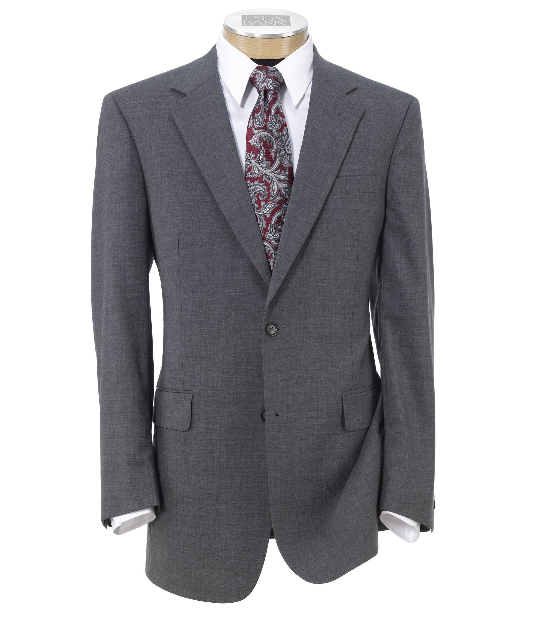 Executive 2-Button Wool Suit with Plain Front Trousers Extended Sizes - Cambridge Gray