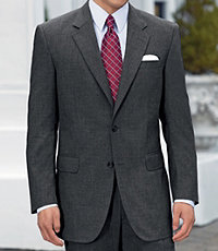 Executive 2-Button Wool Suit with Pleated Front Trousers - Cambridge Grey