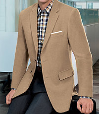 Traveler Tailored Fit 2-Button Camel Hair Blazer Extended Sizes