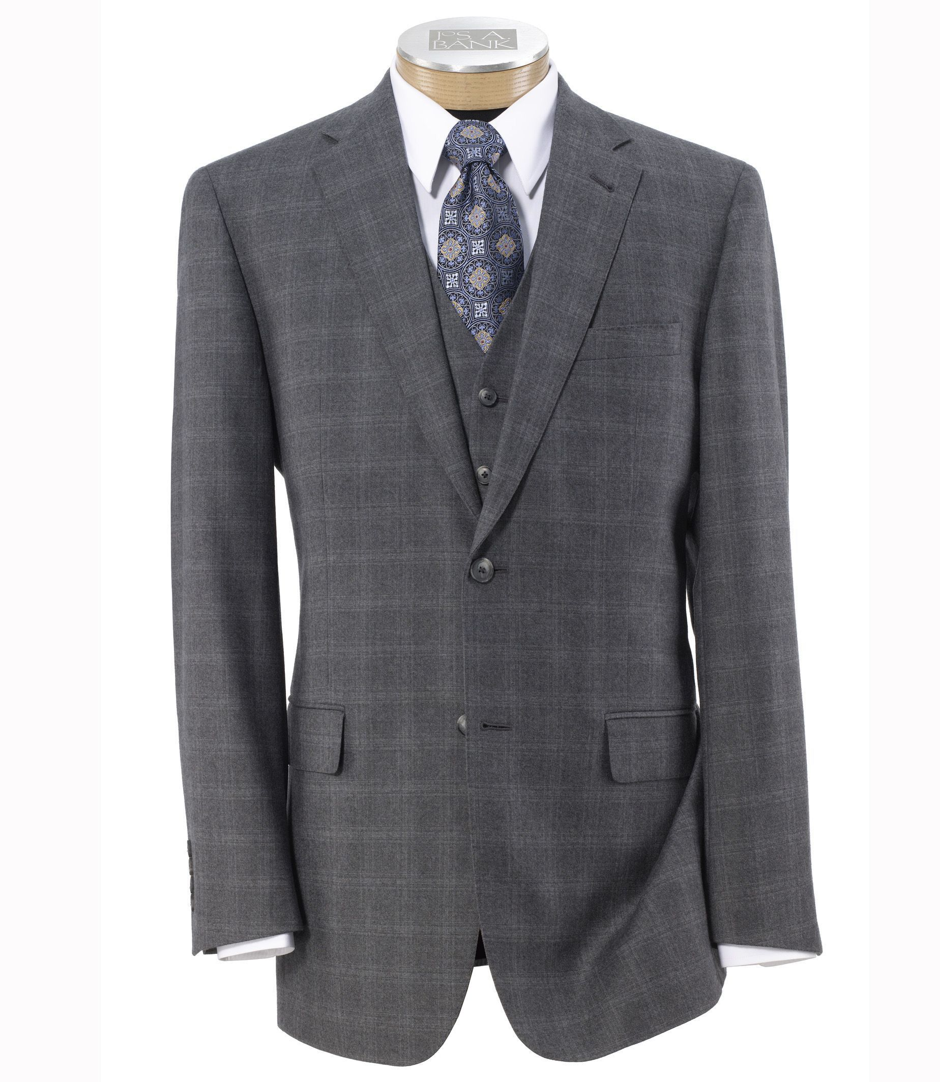 Joseph 2 Button Wool Vested Suit with Pleated Trousers- Light Grey Windowpane