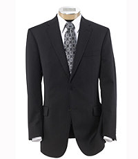 Traveler Tailored Fit 2-Button Suit with Plain Front Trousers- Black Fancy Stripe