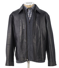 Executive Leather Jacket Open Bottom Big and Tall Sizes