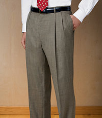 Executive Wool Pleated Front Tic Weave Trousers