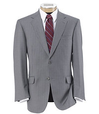Signature Gold 2-Button 150's Wool Pleated Suit - Sizes 44 X-Long-52- Light Grey Striped