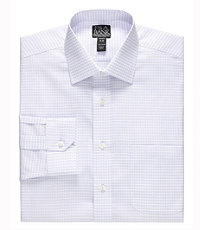 Signature Wrinkle-Free Spread Collar Barrel Cuff Check Tailored Fit Dress Shirt