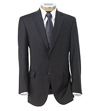 Traveler Tailored Fit 2-Button Suits Plain Front Trousers- Dark Grey Sharkskin