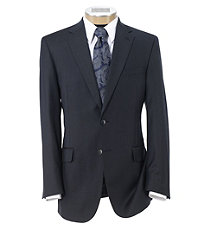 Traveler Tailored Fit 2-Button Suits Plain Front Trousers- Navy Sharkskin