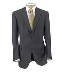 Signature Imperial Wool/Silk Suit with Pleated Trousers- Grey Textured Stripe