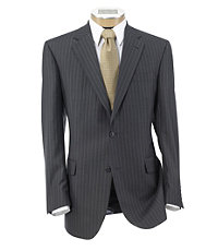 Signature Imperial Wool/Silk Suit with Pleated Trousers Extended Sizes- Grey Textured Stripe