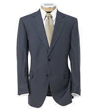 Signature Imperial Wool/Silk Suit with Pleated Trousers- Blue Narrow Stripe