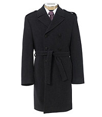 Traveler Tailored Fit Double Breasted Wool Herringbone Topcoat Extended Sizes