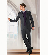Traveler Slim Fit 2-Button Suits with Plain Front Trousers Extended Sizes- Navy