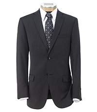 Traveler Slim Fit 2-Button Suits with Plain Front Trousers- Grey Micro Checkered