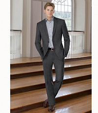 Traveler Slim Fit 2-Button Suits with Plain Front Trousers- Grey Windowpane