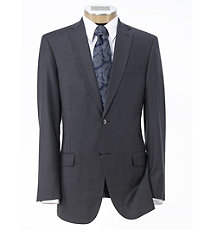 Traveler Slim Fit 2-Button Suits with Plain Front Trousers- Medium Grey Sharkskin