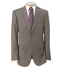 Traveler Slim Fit 2-Button Suits with Plain Front Trousers Extended Sizes-Taupe Sharkskin