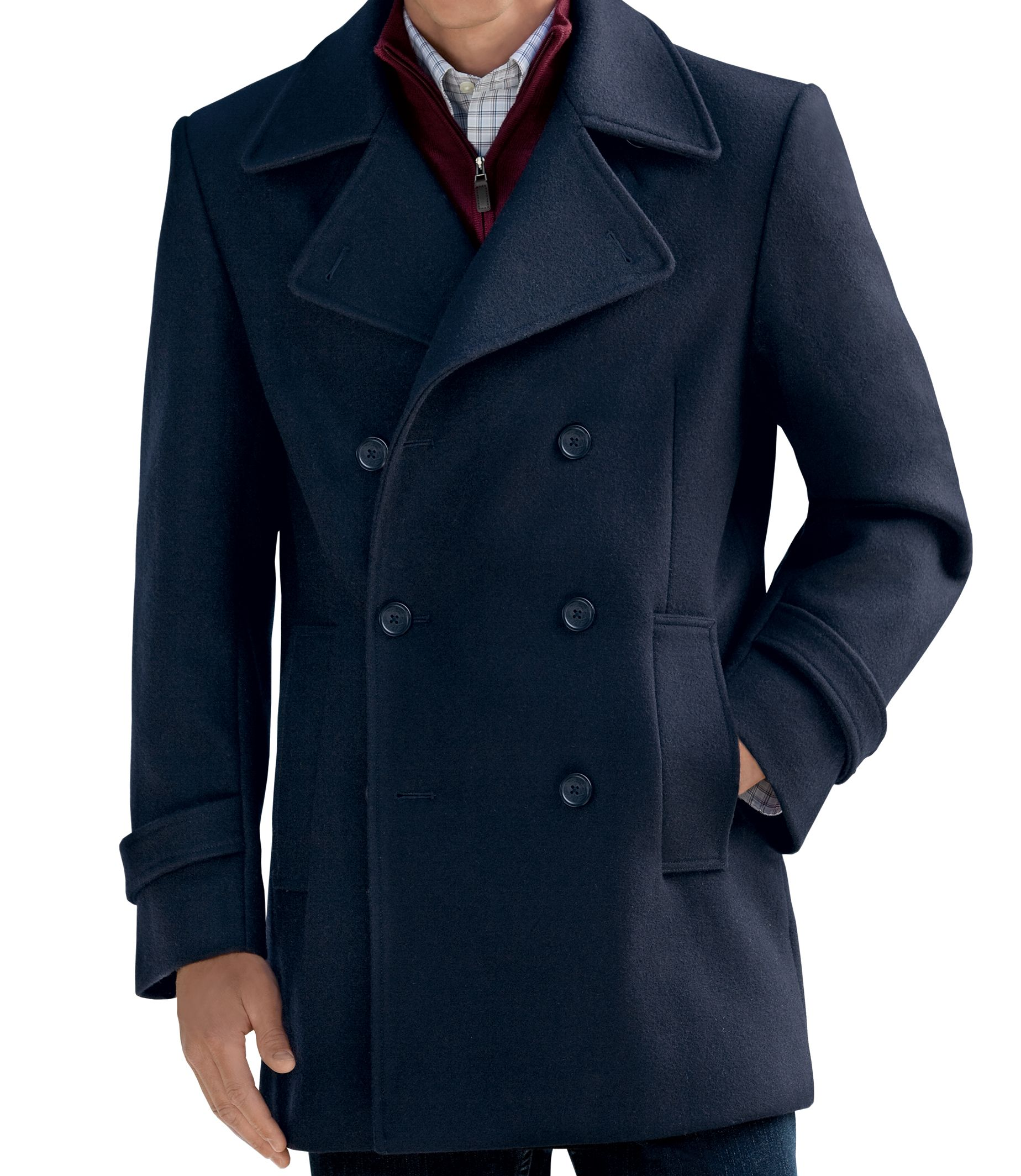 Executive Collection Traditional Fit Double-Breasted Peacoat ...