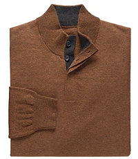 Lambswool Four-Button Mock Sweater