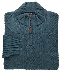 Lambswool Half-Zip Cable Sweater