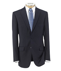 Traveler Tailored Fit 2-Button Suit with Plain Front Trousers- Navy w Bright Blue Stripes