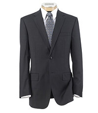 Traveler Tailored Fit 2-Button Suit with Plain Front Trousers- Black Plaid Windowpane