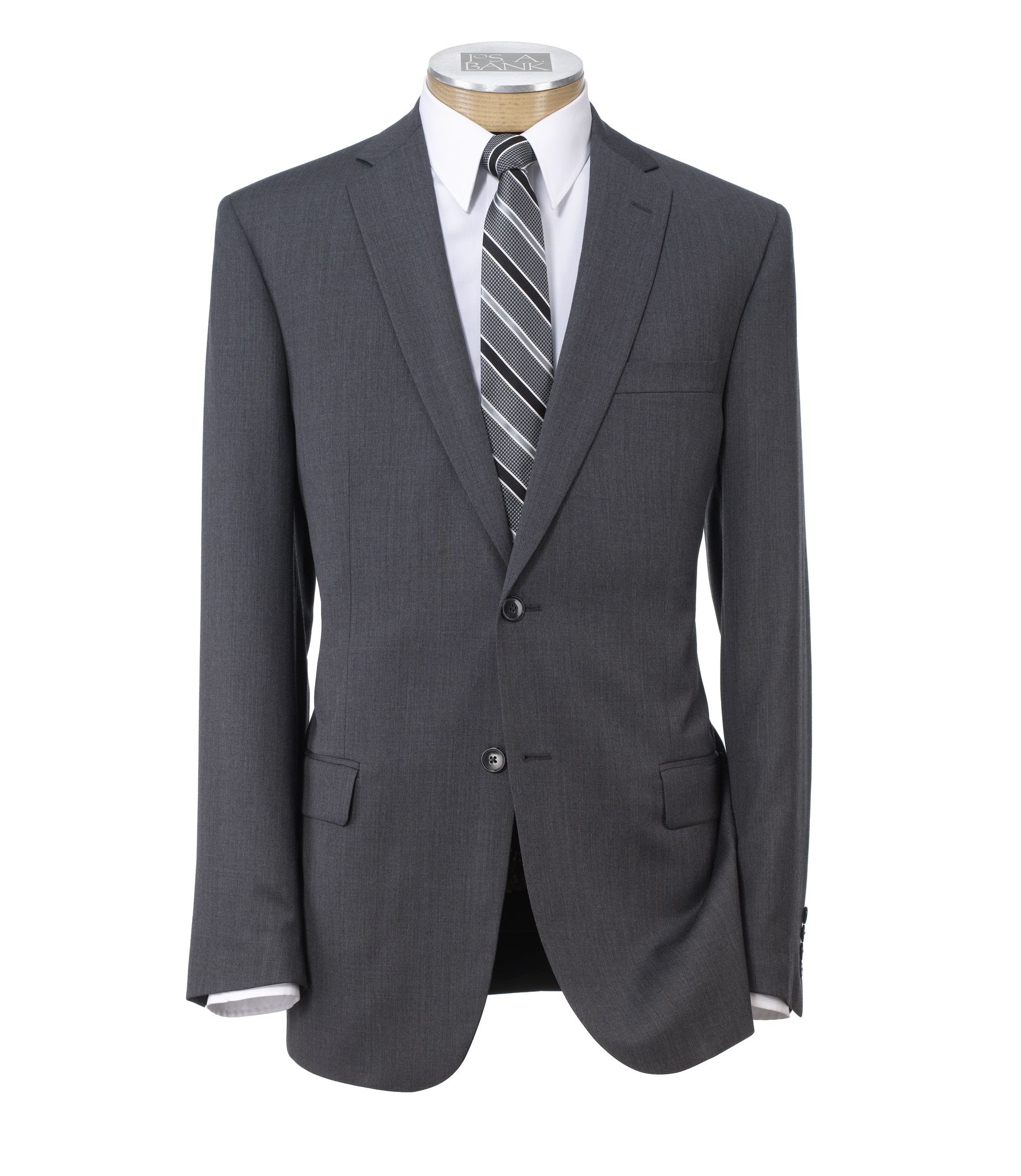 Traveler Slim Fit 2-Button Suit with Plain Front Trousers - Extended Sizes- Cambridge Grey
